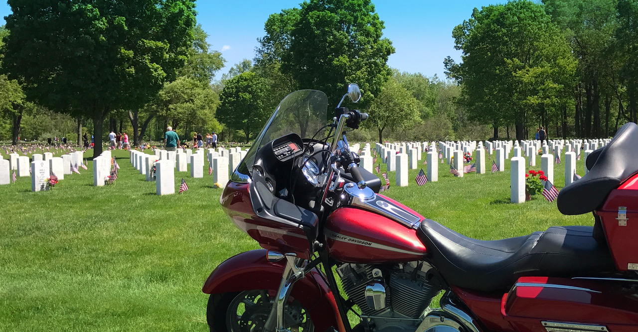 Motorcycle at Custer National Cemetery Memorial Day